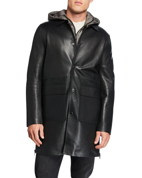 Karl Lagerfeld Men's Leather Coat w/ Removable Hooded Vest