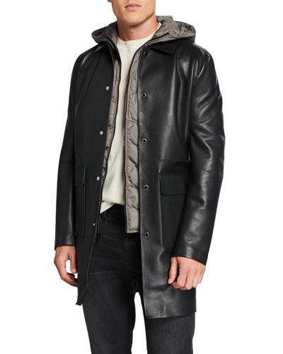Men's Leather Coat w/ Removable Hooded Vest