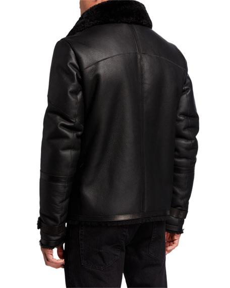 Karl Lagerfeld Men's Shearling Aviator Jacket