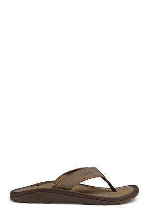 Olukai ?Ohana Men's Thong Sandal, Red/Black