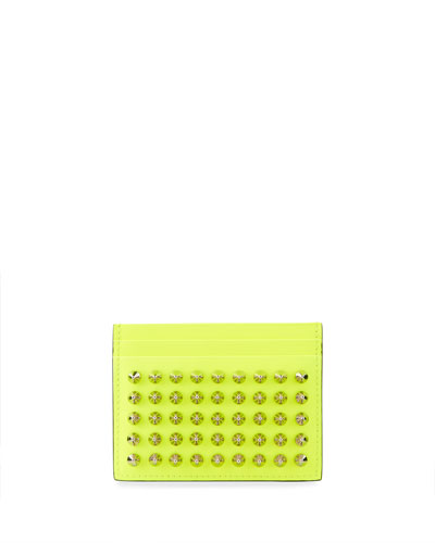 Men's Spiked Fluo Leather Card Case