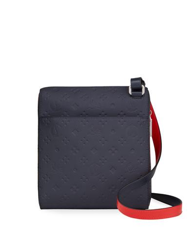 Men's Benech Embossed Leather Crossbody Bag