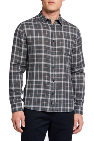 Vince Men's Plaid Double-Face Sport Shirt