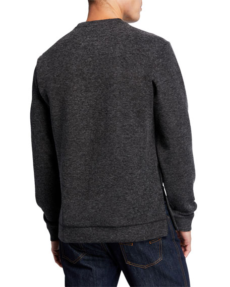Karl Lagerfeld Paris Men's Zip-Pocket Logo Pullover Sweater
