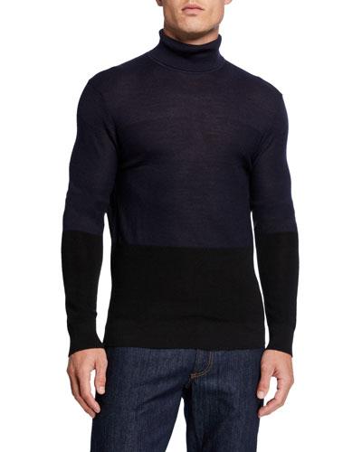 Men's Colorblock Turtleneck Sweater