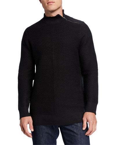 Men's Directional Stripe Mock-Neck Sweater