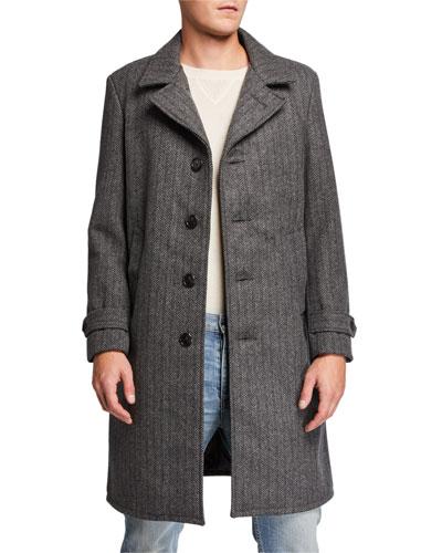 Men's Herringbone Wool Coat