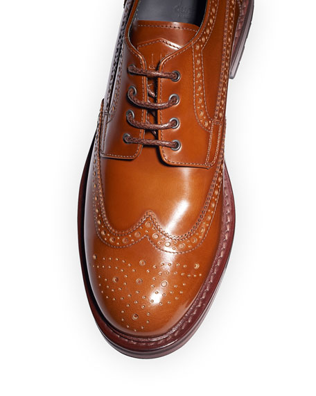 dunhill Men's Country Brogue Lug-Sole Derby Shoes