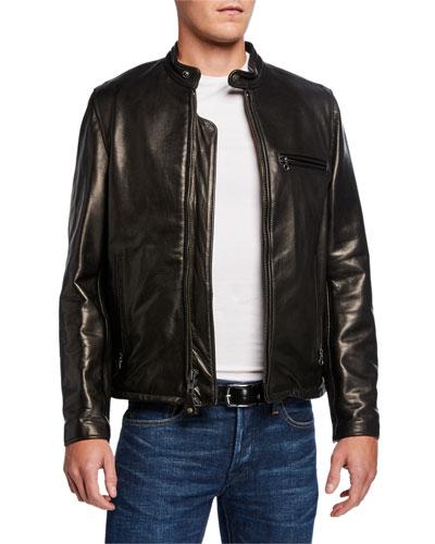 Men's Racer Pebbled Cowhide Leather Jacket