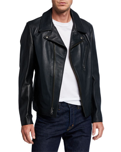 Men's Motorcycle Waxy Cowhide Leather Jacket