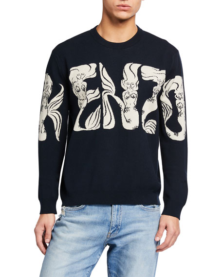 Image 1 of 2: Kenzo Men's Mermaids Typographic Sweater