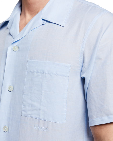 Image 3 of 3: Kenzo Men's Linen-Cotton Camp Shirt w/ Pocket