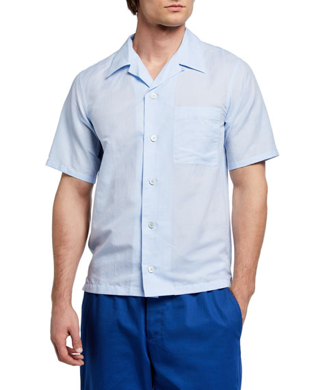Image 1 of 3: Kenzo Men's Linen-Cotton Camp Shirt w/ Pocket