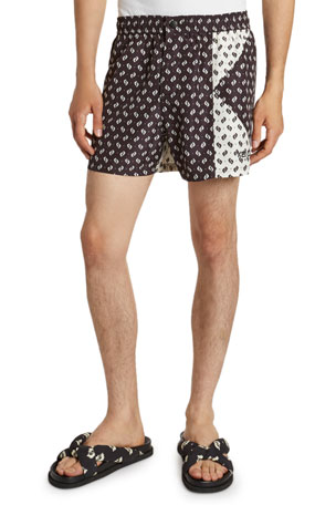 Kenzo Men's Ikat Patched Swim Shorts