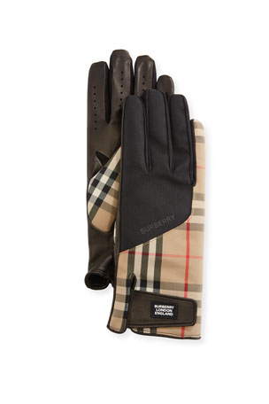 Burberry Men's Leather-Palm Bimaterial Gloves