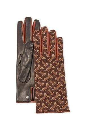 Burberry Men's TB-Monogram Faux-Leather Gloves