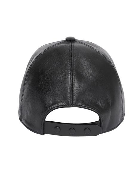 Burberry Men's Debossed TB Leather Trucker Cap
