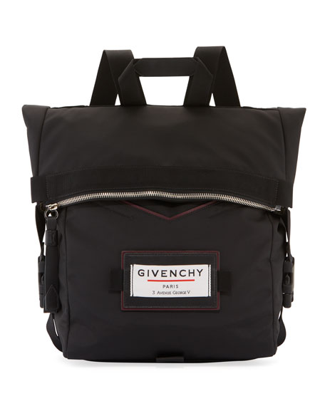 Givenchy Men's Fold-Over Backpack with Contrast Leather Trim