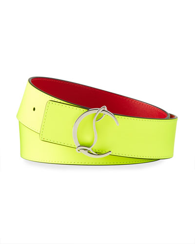 Men's CL Logo Fluorescent Leather Belt