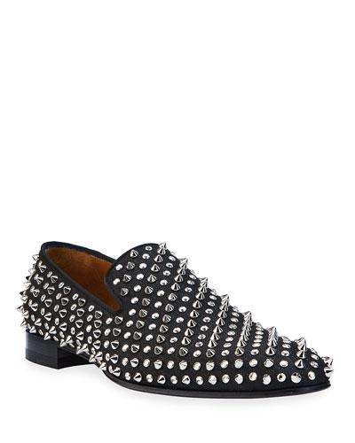 Men's Dandelion Crystal Studded Slip-Ons