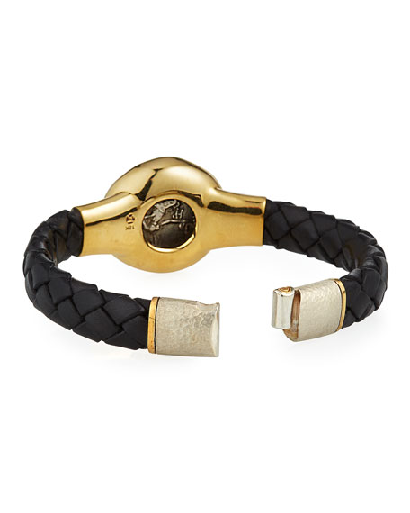 Jorge Adeler Men's Ancient Alexander The Great Coin Braided Leather Bracelet