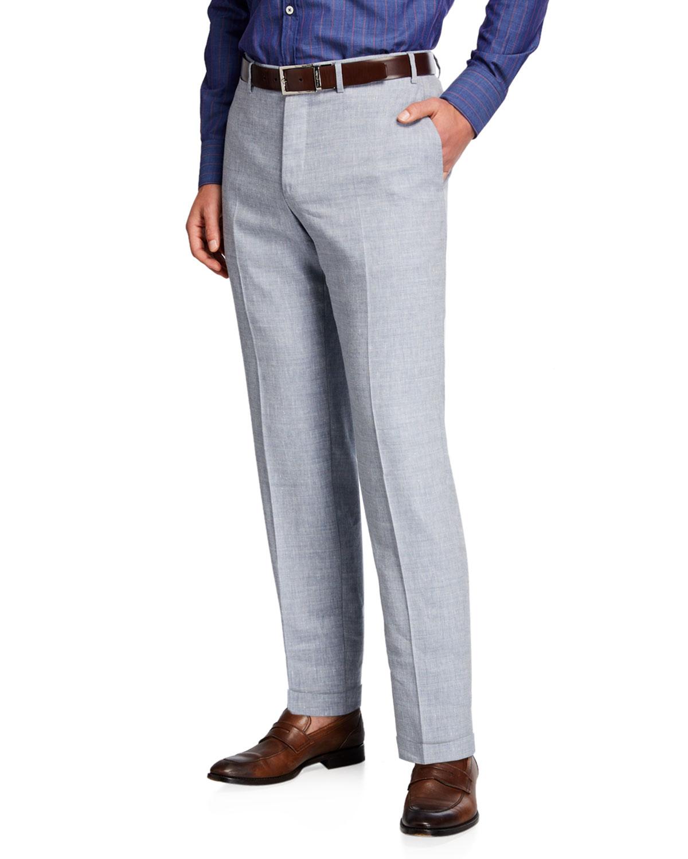 Canali Men's Linen-Wool Chambray Cropped Pants