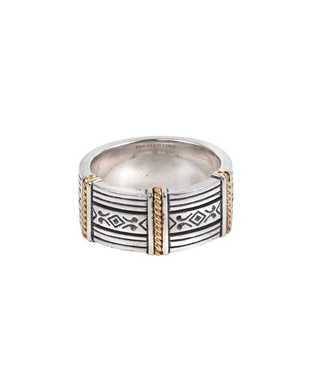 Image 2 of 3: Konstantino Men's 18K Gold/Silver Carved Band Ring