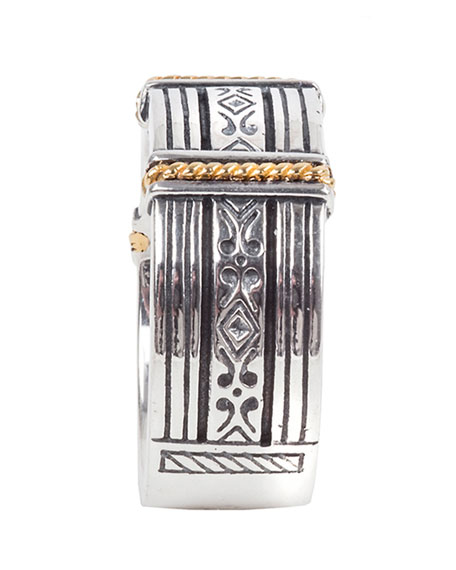 Image 3 of 3: Konstantino Men's 18K Gold/Silver Carved Band Ring