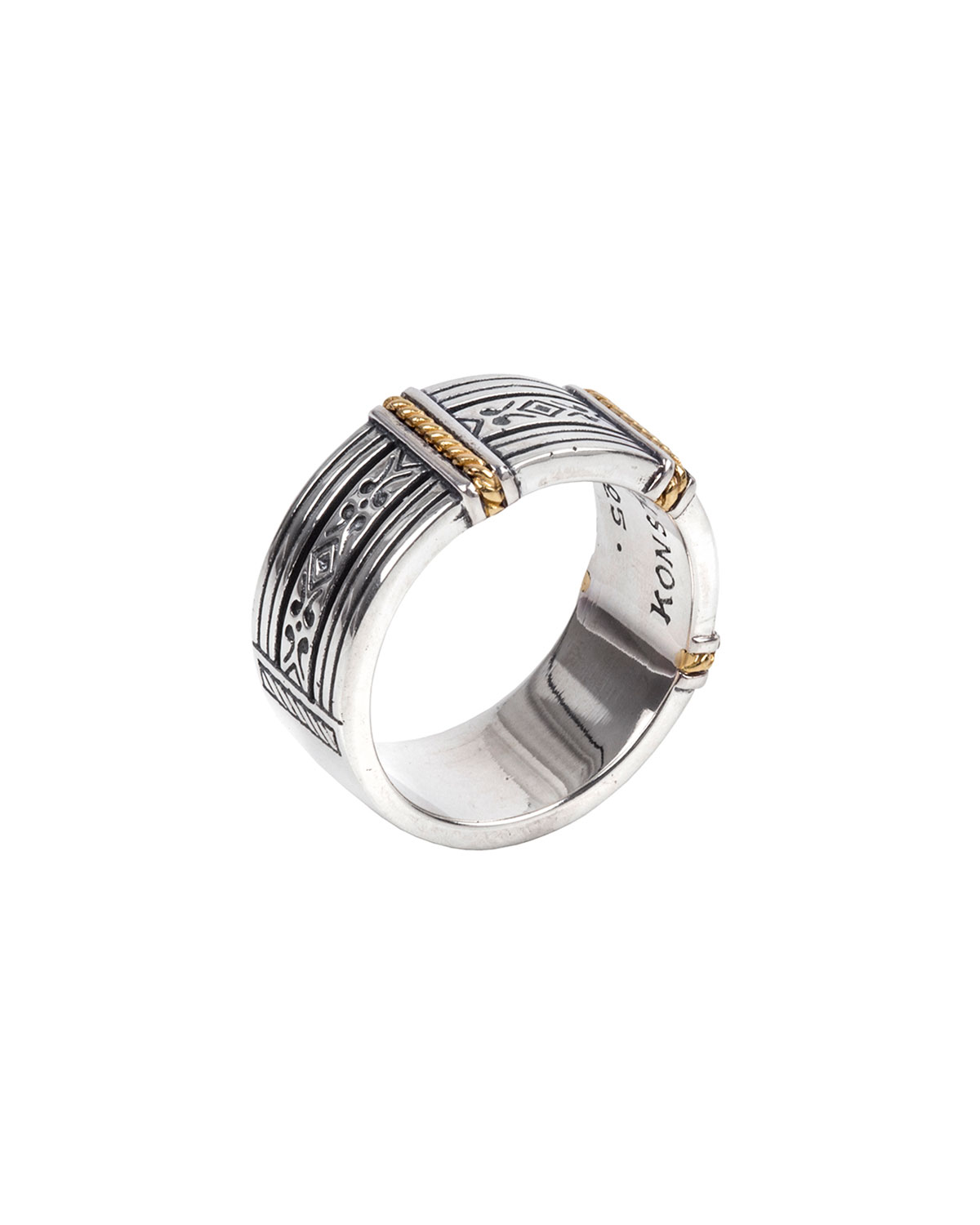 Konstantino Men's 18K Gold/Silver Carved Band Ring