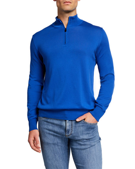Image 1 of 2: Canali Men's Solid 1/4-Zip Sweatshirt
