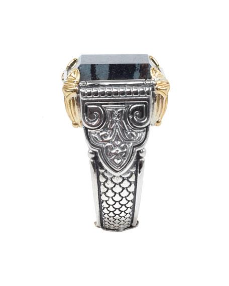 Konstantino Men's 18K Gold/Silver Square Ferrite Ring