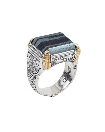 Men's 18K Gold/Silver Square Ferrite Ring