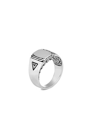 John Hardy Men's Classic Chain Carved Silver Signet Ring, Size 9-13