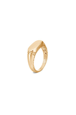 John Hardy Men's 18K Yellow Gold Classic Chain Signet Ring, Size 9-13