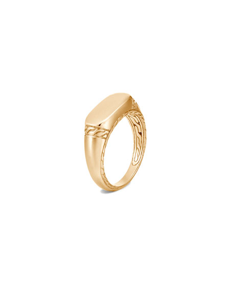 Image 1 of 4: John Hardy Men's 18K Yellow Gold Classic Chain Signet Ring, Size 9-13