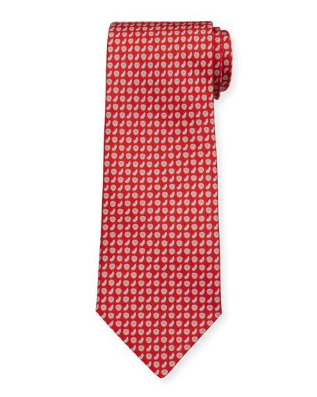 Salvatore Ferragamo Limone Citrus-Print Tie, Red