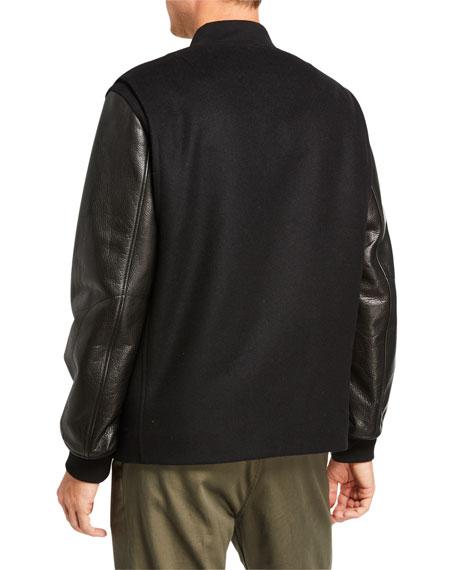 Rag & Bone Men's Boulder Leather-Sleeve Bomber Jacket