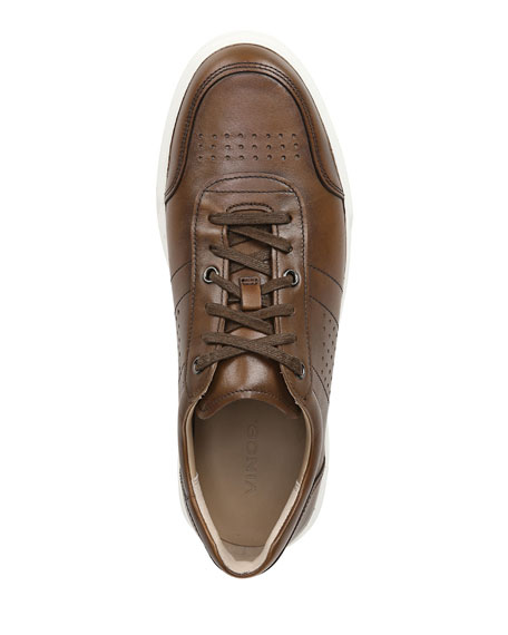 Image 2 of 5: Vince Men's Barnett Perforated Leather Low-Top Sneakers