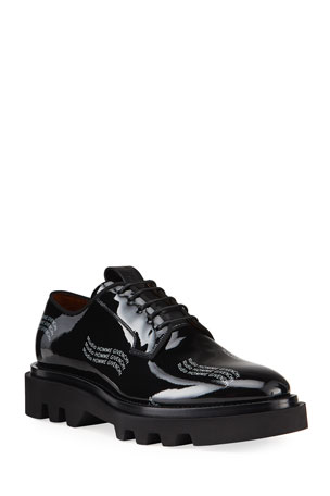Givenchy Men's Combat Patent Leather Logo Derby Shoes