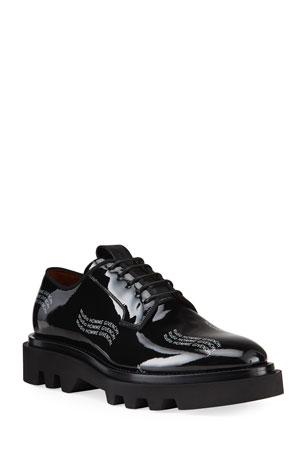 Givenchy Men's Combat Patent Leather Logo Derby Shoes