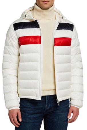 Moncler Men's Kourou Logo-Stripe Puffer Jacket