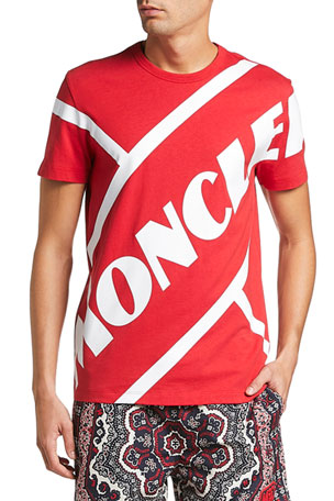 Moncler Men's Angled Logo Typographic T-Shirt