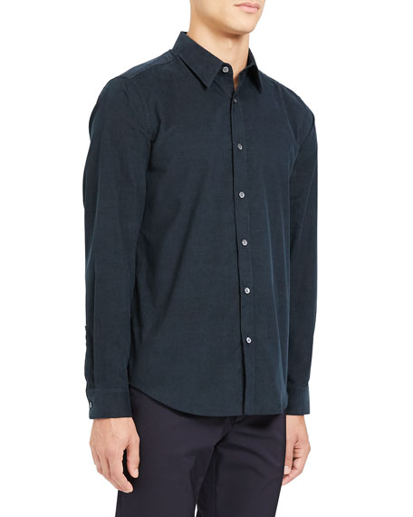 Image 2 of 3: Theory Men's Irving Corduroy Point-Collar Sport Shirt