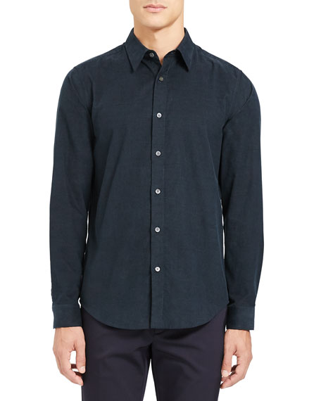 Image 1 of 3: Theory Men's Irving Corduroy Point-Collar Sport Shirt