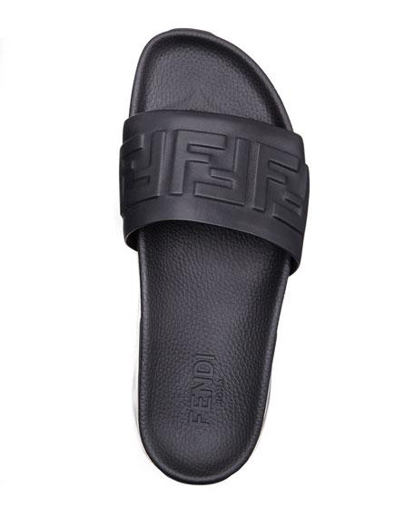 Fendi Men's Clear-Sole Logo Slide Sandals