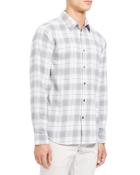 Theory Men's Irving Flannel Cotton Sport Shirt