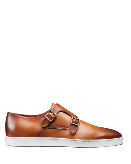 Image 3 of 5: Santoni Men's Fremont Double-Monk Leather Sneakers