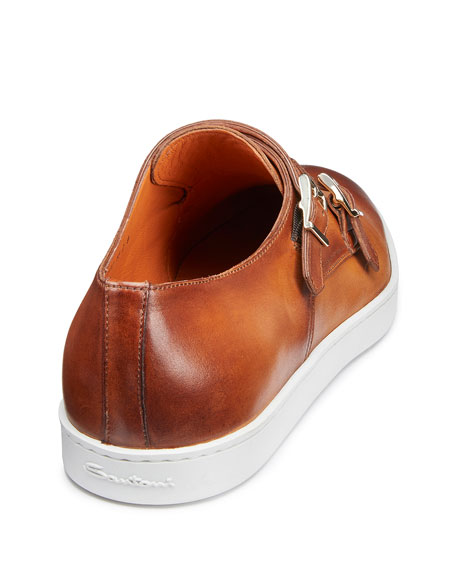 Image 4 of 5: Santoni Men's Fremont Double-Monk Leather Sneakers