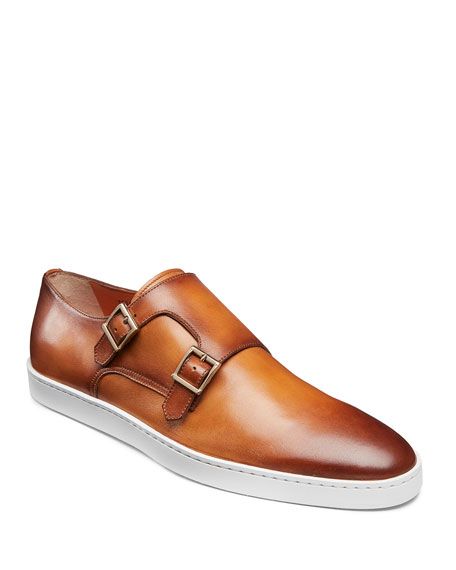 Image 1 of 5: Santoni Men's Fremont Double-Monk Leather Sneakers