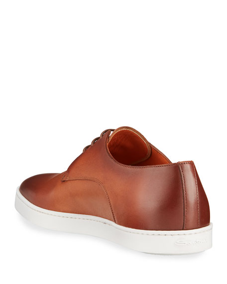 Image 4 of 4: Santoni Men's Doyle Leather Derby Sneakers